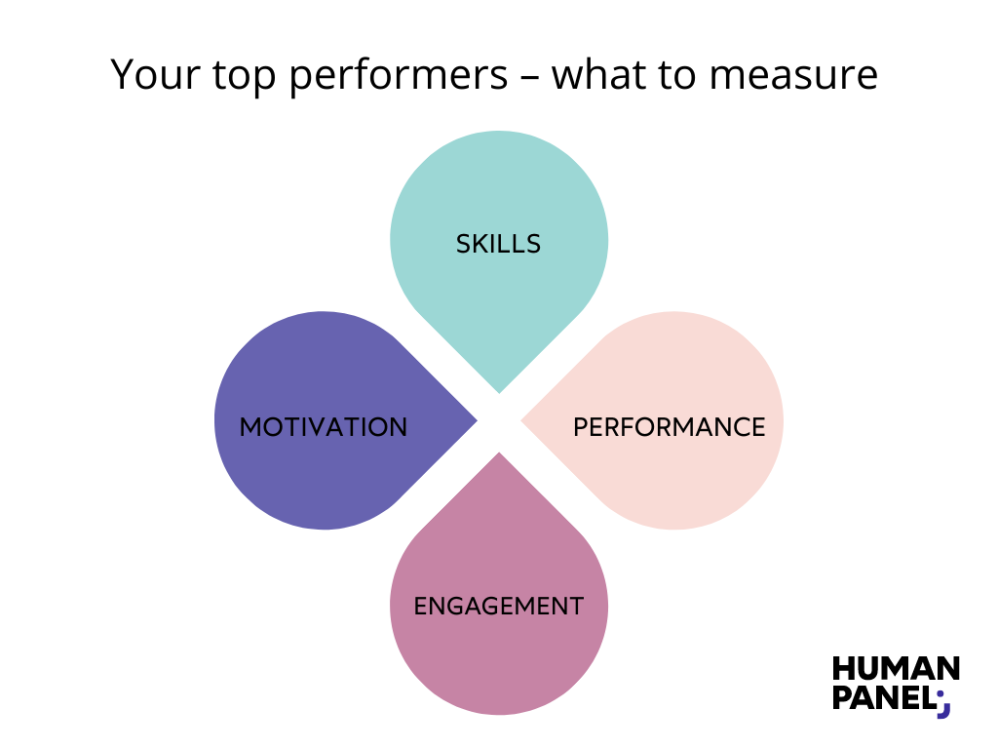 What to measure at your top performers? Skills, motivation, performance and engagement.